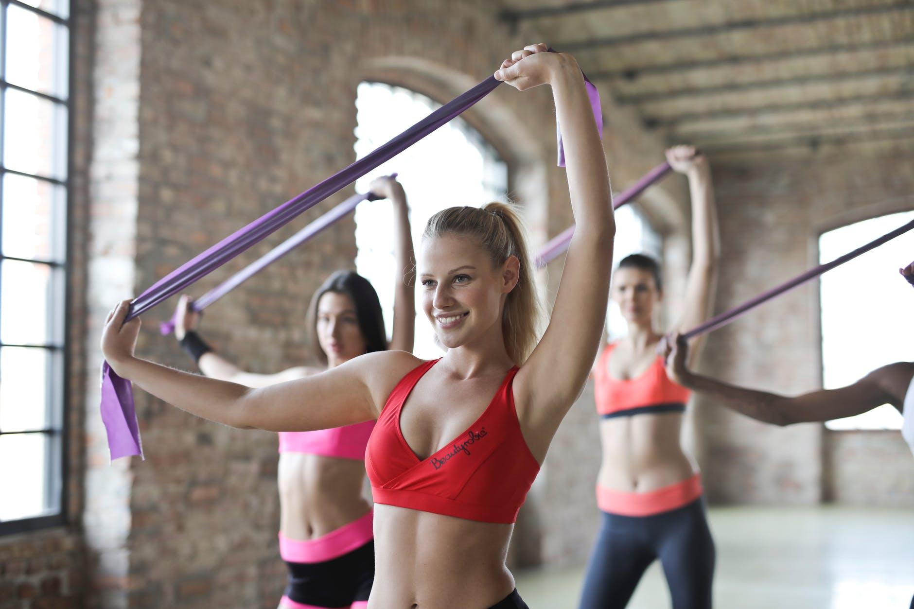 three women s doing exercises