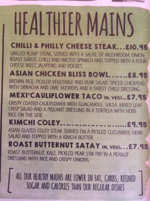 Healthier menu options from S Bar in Harrogate