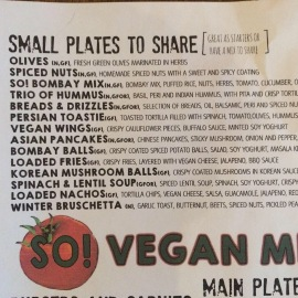 So many vegan dishes to choose from. you're spoilt for choice at S Bar Harrogate